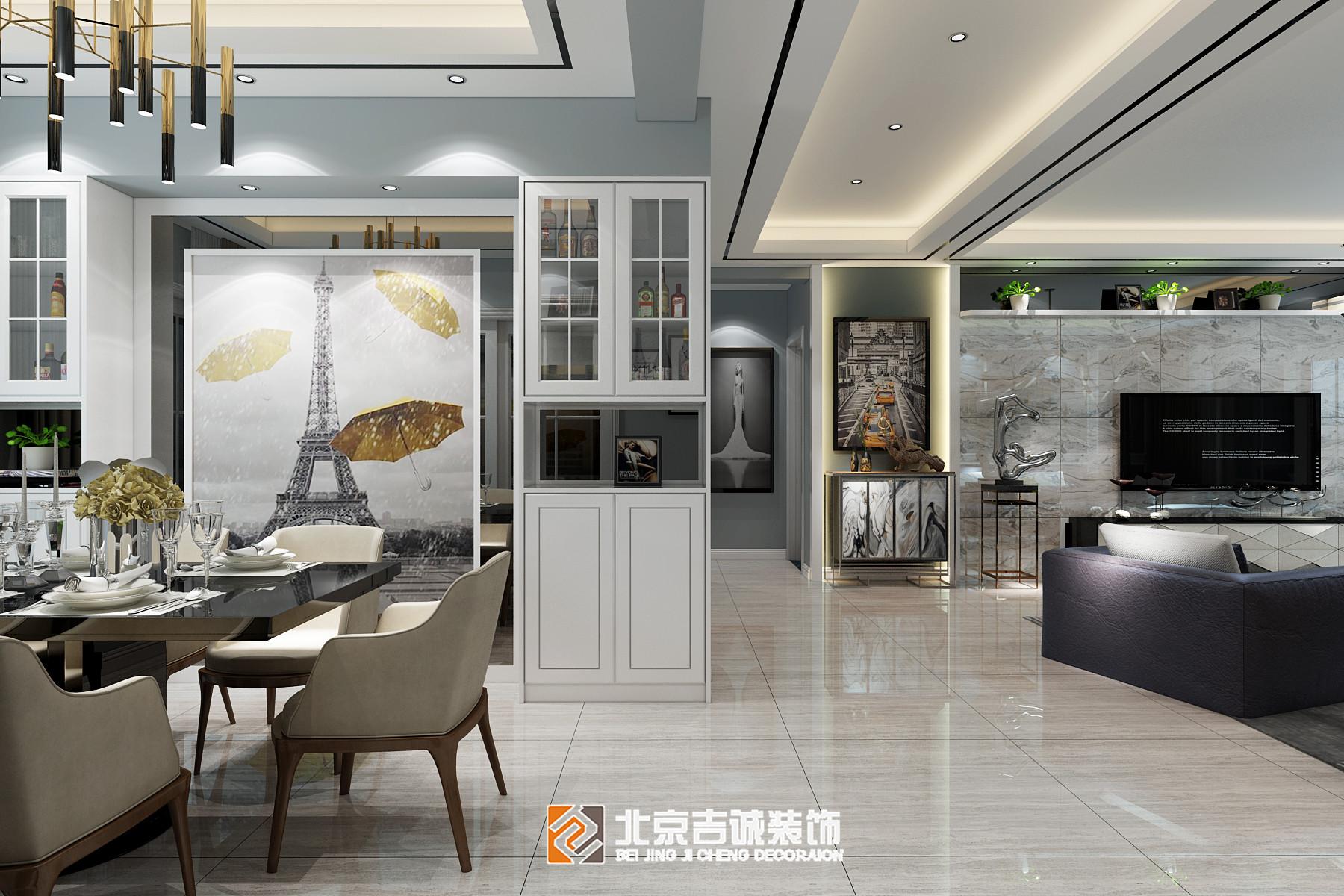 [装修案例]荆门西山林语124平米现代风格装修效果图 黑白灰的高冷时尚